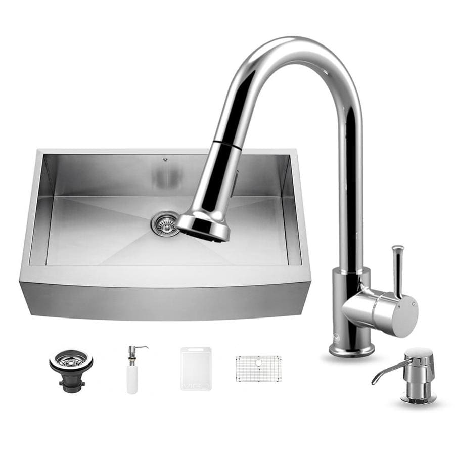 VIGO 36.0-in x 22.25-in Stainless Steel Single-Basin-Basin Stainless Steel Apron Front/Farmhouse (Customizable)-Hole Commercial/Residential Kitchen Sink All-In-One Kit
