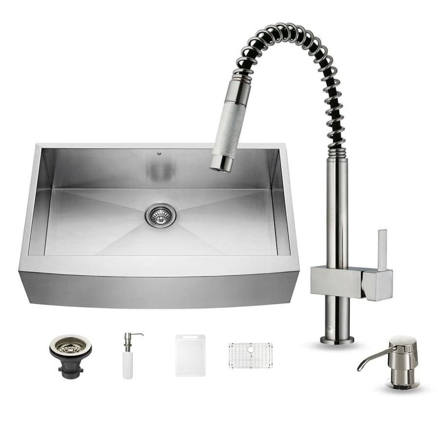 VIGO 36.0-in x 22.25-in Premium Satin Single-Basin Stainless Steel Apron Front/Farmhouse Commercial/Residential Kitchen Sink All-In-One Kit