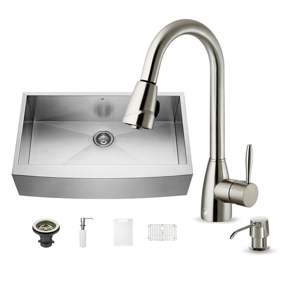 VIGO 22.25-in x 36-in Stainless Steel Single-Basin Apron Front/Farmhouse Commercial/Residential Kitchen Sink All-In-One Kit