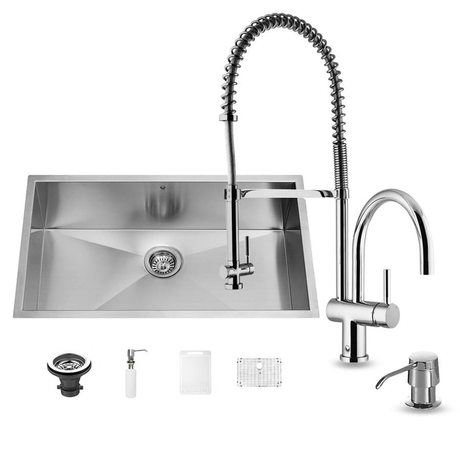 VIGO 32.0-in x 19.0-in Premium Satin Single-Basin Stainless Steel Undermount Commercial/Residential Kitchen Sink All-In-One Kit