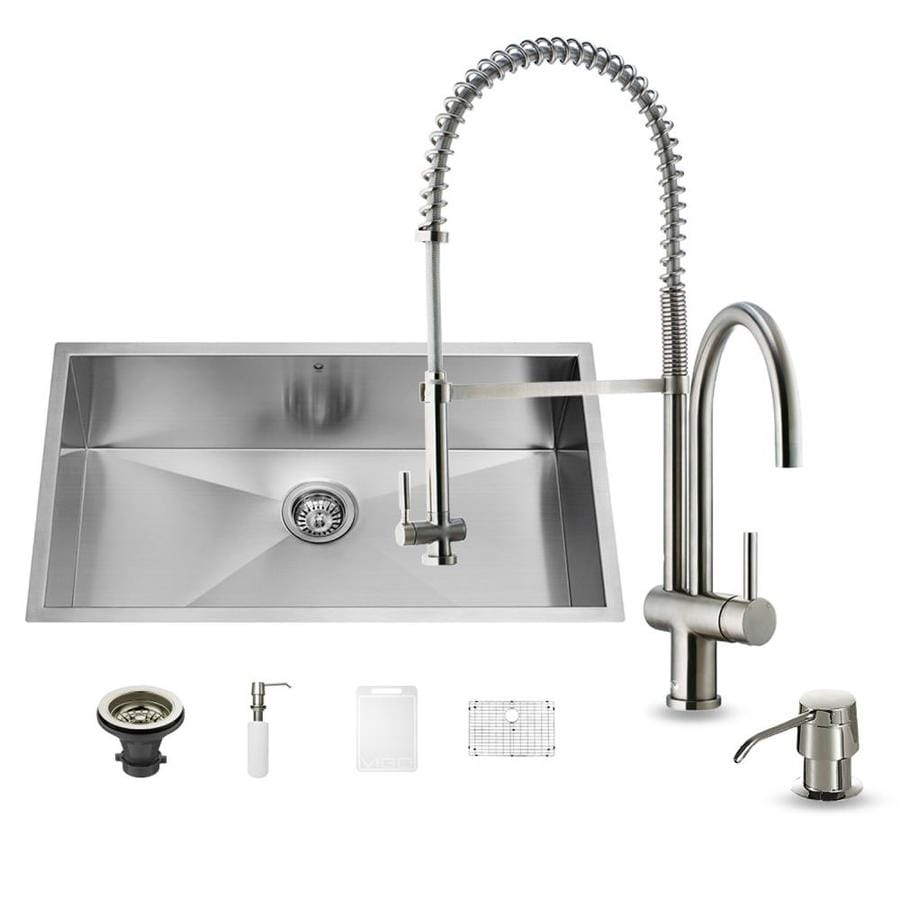 VIGO 32.0-in x 19.0-in Single-Basin Stainless Steel Undermount Commercial/Residential Kitchen Sink All-In-One Kit