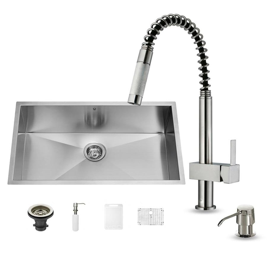 VIGO 19-in x 32-in Stainless Steel 1 Stainless Steel Undermount (Customizable)-Hole Commercial/Residential Kitchen Sink All-In-One Kit
