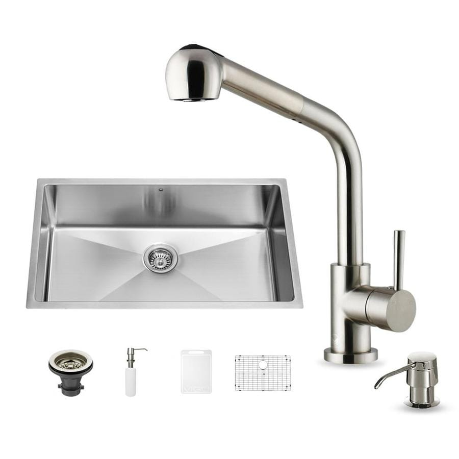 VIGO 19-in x 32-in Stainless Steel Single-Basin Apron Front/Farmhouse Commercial/Residential Kitchen Sink All-In-One Kit