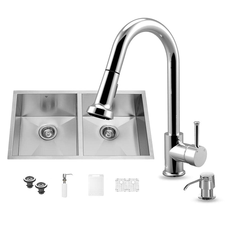 VIGO 32.0-in x 19.0-in Double-Basin Stainless Steel Undermount Commercial/Residential Kitchen Sink All-In-One Kit