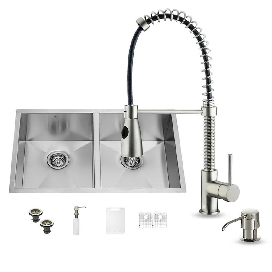 VIGO 32.0-in x 19.0-in Premium Satin Double-Basin Stainless Steel Undermount Commercial/Residential Kitchen Sink All-In-One Kit