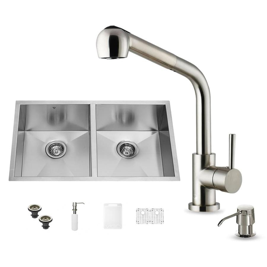 VIGO 32-in x 19-in Stainless Steel Double-Basin Undermount Commercial/Residential Kitchen Sink All-In-One Kit