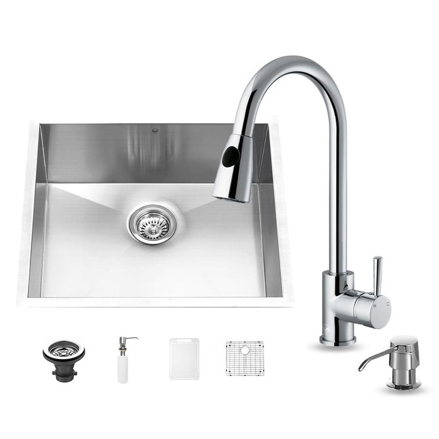 VIGO 20-in x 23-in Stainless Steel Single-Basin Undermount Commercial/Residential Kitchen Sink All-In-One Kit
