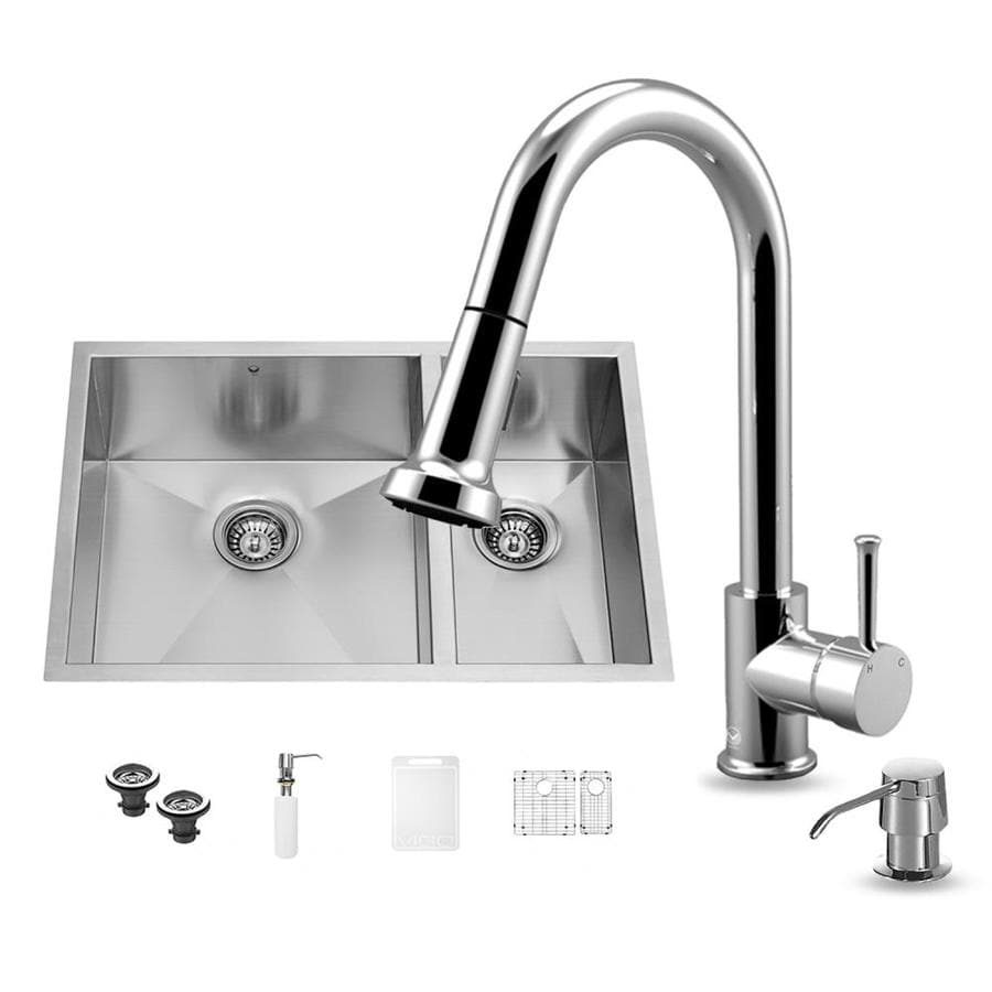 VIGO 29.0-in x 20.0-in Stainless Steel Single-Basin-Basin Stainless Steel Undermount (Customizable)-Hole Commercial/Residential Kitchen Sink All-In-One Kit