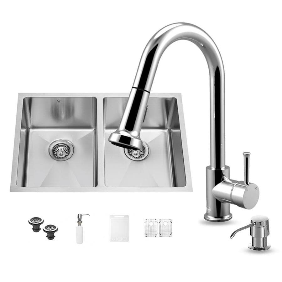 VIGO 29.0-in x 20.0-in Double-Basin Stainless Steel Undermount Commercial/Residential Kitchen Sink All-In-One Kit