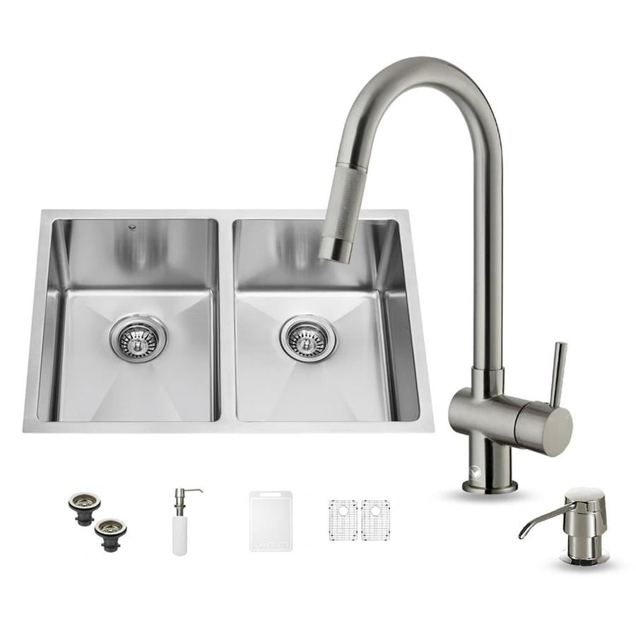 VIGO 29-in x 20-in Stainless Steel Double-Basin Undermount Commercial/Residential Kitchen Sink All-In-One Kit