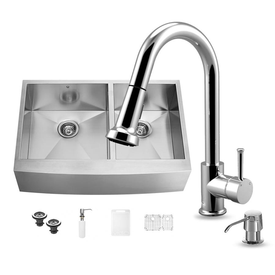 VIGO 36.0-in x 22.25-in Premium Satin Single-Basin-Basin Stainless Steel Apron Front/Farmhouse (Customizable)-Hole Commercial/Residential Kitchen Sink All-In-One Kit