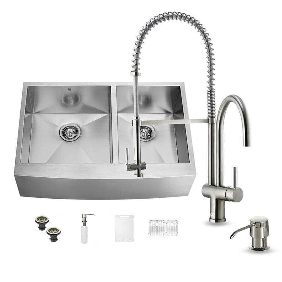 VIGO 36-in x 22.25-in Stainless Steel Double-Basin Apron Front/Farmhouse Commercial/Residential Kitchen Sink All-In-One Kit
