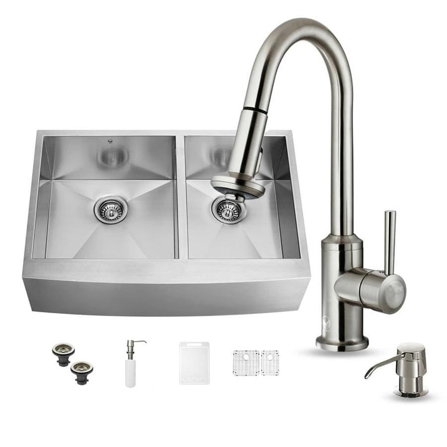 VIGO 36.0-in x 22.25-in Premium Satin Double-Basin Stainless Steel Apron Front/Farmhouse Commercial/Residential Kitchen Sink All-In-One Kit
