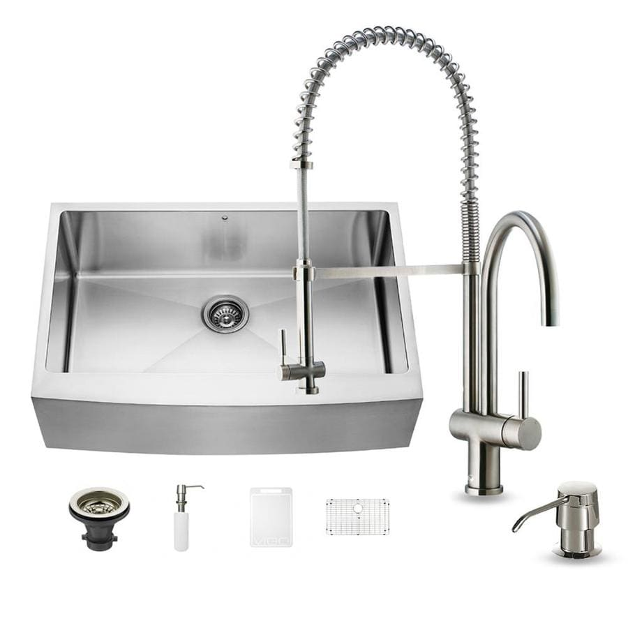 VIGO 33-in x 22.25-in Stainless Steel Single-Basin Apron Front/Farmhouse Commercial/Residential Kitchen Sink All-In-One Kit