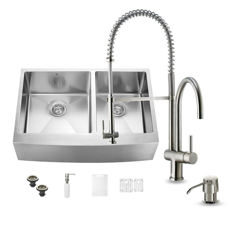 VIGO 33.0-in x 22.25-in Premium Satin Double-Basin Stainless Steel Apron Front/Farmhouse Commercial/Residential Kitchen Sink All-In-One Kit