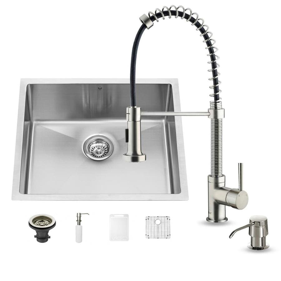 VIGO 23.0-in x 20.0-in Premium Satin Single-Basin-Basin Stainless Steel Undermount (Customizable)-Hole Commercial/Residential Kitchen Sink All-In-One Kit