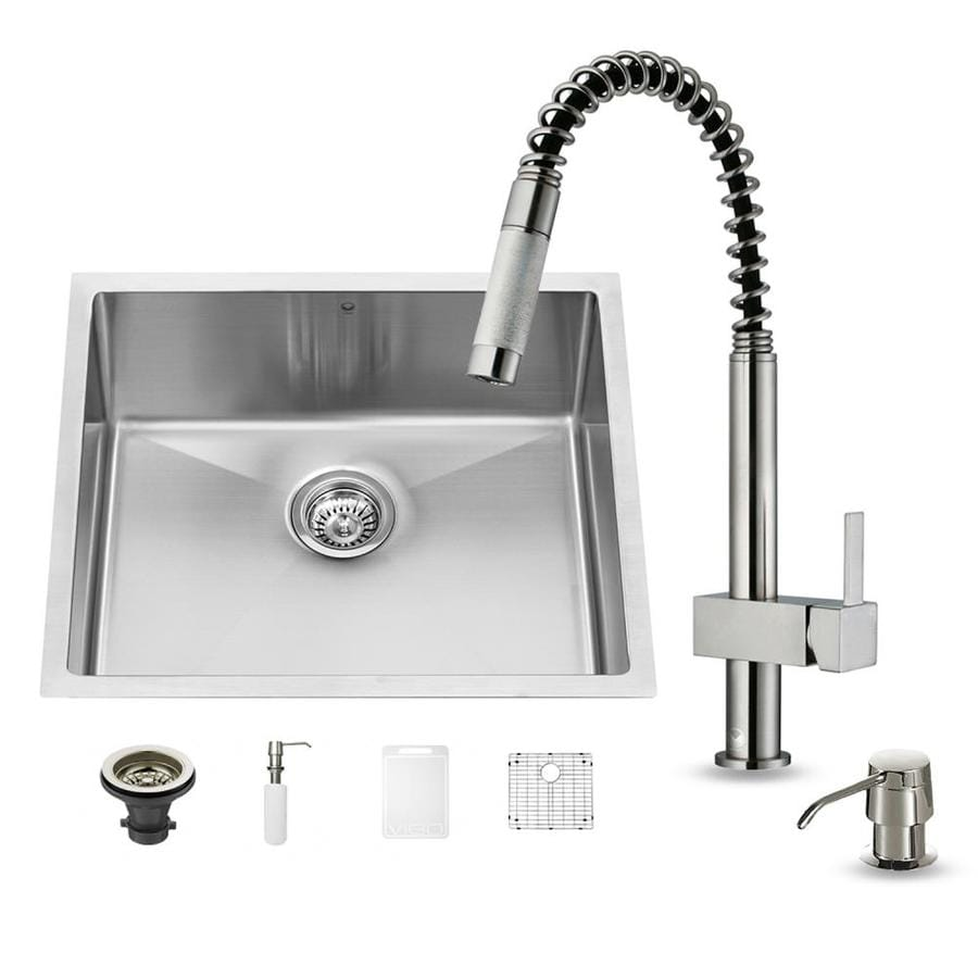 VIGO 23-in x 20-in Stainless Steel Single-Basin Undermount Commercial/Residential Kitchen Sink All-In-One Kit