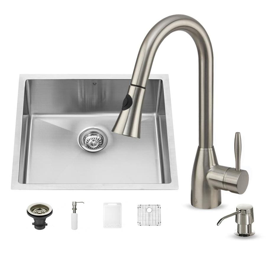 VIGO 23.0-in x 20.0-in Stainless Steel Single-Basin-Basin Stainless Steel Undermount (Customizable)-Hole Commercial/Residential Kitchen Sink All-In-One Kit