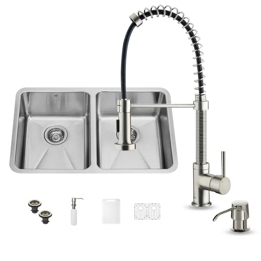 VIGO 29.25-in x 18.5-in Stainless Steel Double-Basin Undermount Commercial/Residential Kitchen Sink All-In-One Kit