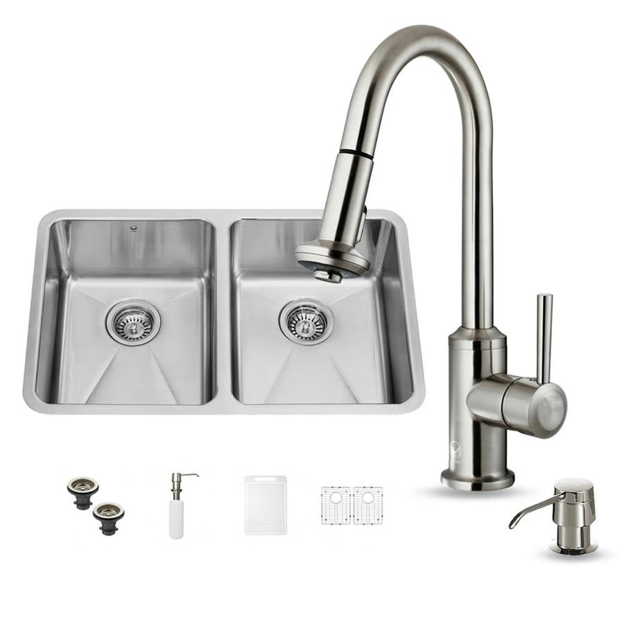 VIGO 29.25-in x 18.5-in Premium Satin Double-Basin Stainless Steel Undermount Commercial/Residential Kitchen Sink All-In-One Kit