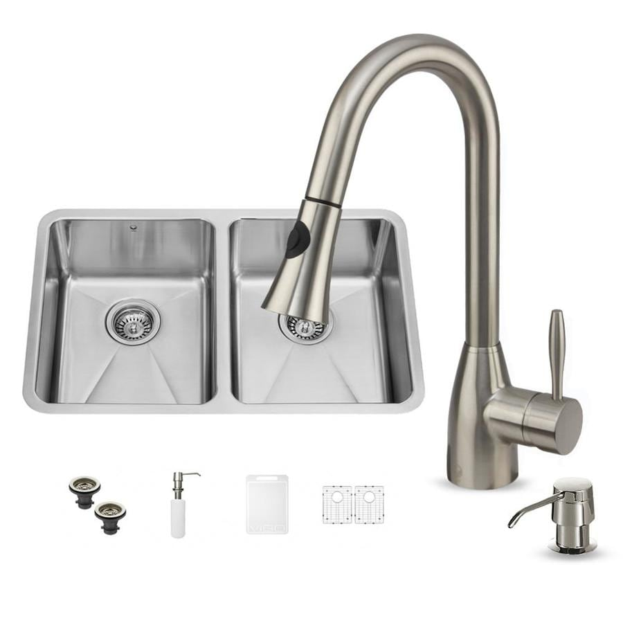 VIGO 29.25-in x 18.5-in Double-Basin Stainless Steel Undermount Commercial/Residential Kitchen Sink All-In-One Kit