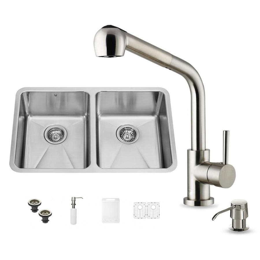 VIGO 29.25-in x 18.5-in Premium Satin Single-Basin-Basin Stainless Steel Undermount (Customizable)-Hole Commercial/Residential Kitchen Sink All-In-One Kit