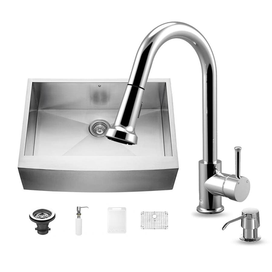 VIGO 30.0-in x 22.25-in Premium Satin Single-Basin-Basin Stainless Steel Apron Front/Farmhouse (Customizable)-Hole Commercial/Residential Kitchen Sink All-In-One Kit