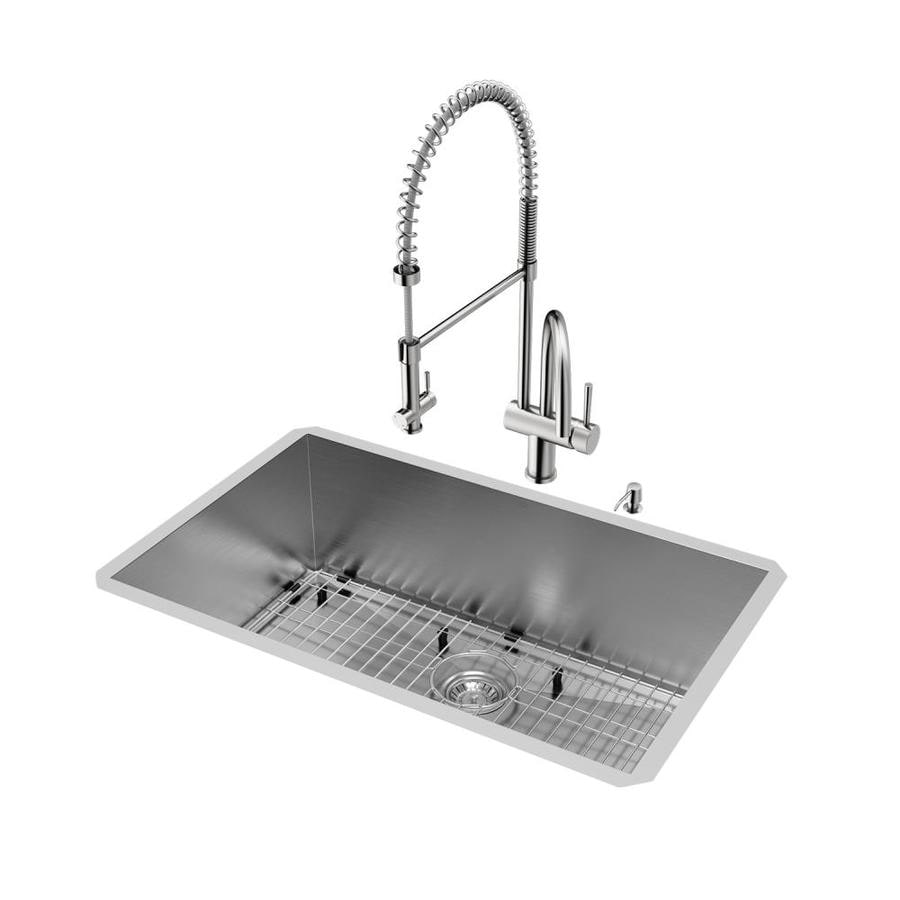 VIGO 30.0-in x 19.0-in Single-Basin Stainless Steel Undermount Commercial/Residential Kitchen Sink All-In-One Kit