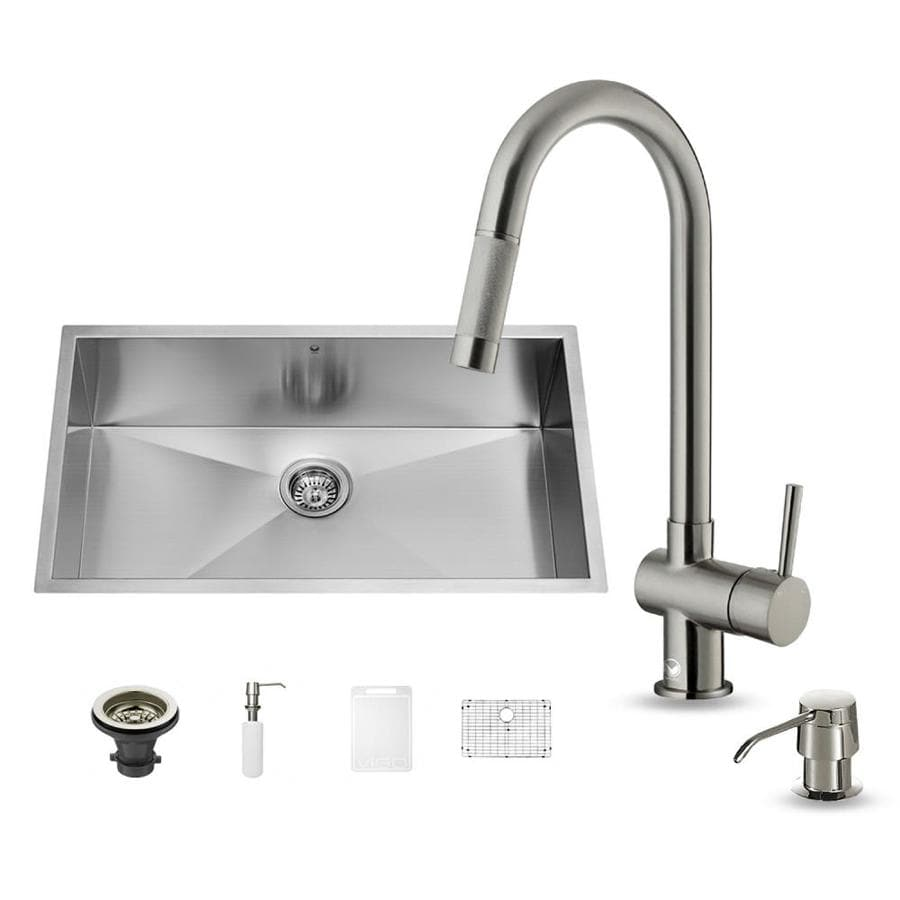 VIGO 30.0-in x 19.0-in Premium Satin Single-Basin Stainless Steel Undermount Commercial/Residential Kitchen Sink All-In-One Kit