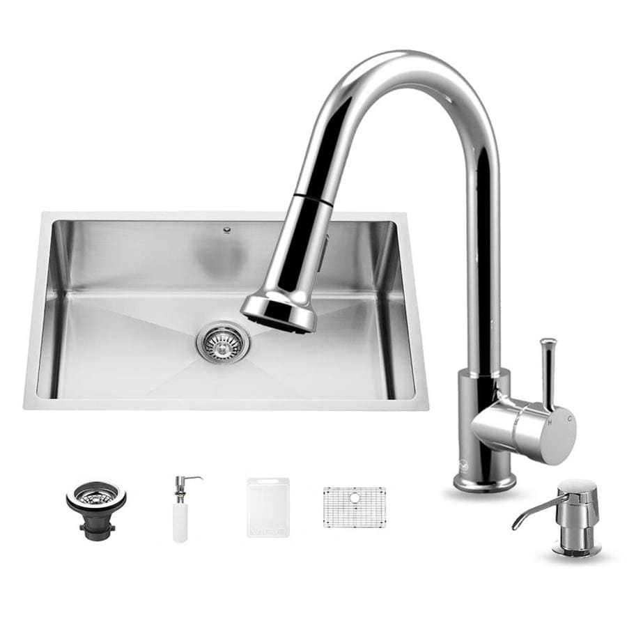 VIGO 30-in x 19-in Stainless Steel Single-Basin Undermount Commercial/Residential Kitchen Sink All-In-One Kit