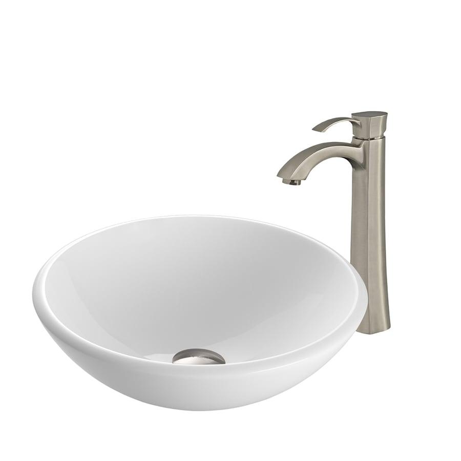 Shop vigo white glass vessel bathroom sink with faucet drain included at - Vigo sink accessories ...