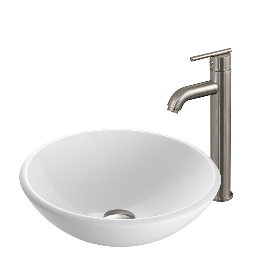 surprising Vigo Sinks And Faucets Part - 5: VIGO Vessel Sink u0026 Faucet Set White Glass Vessel Round Bathroom Sink with  Faucet (Drain