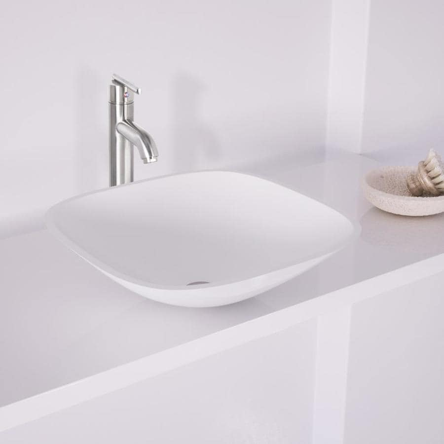 VIGO Vessel Sink and Faucet Set White Glass Vessel Square Bathroom Sink with Faucet (Drain Included)