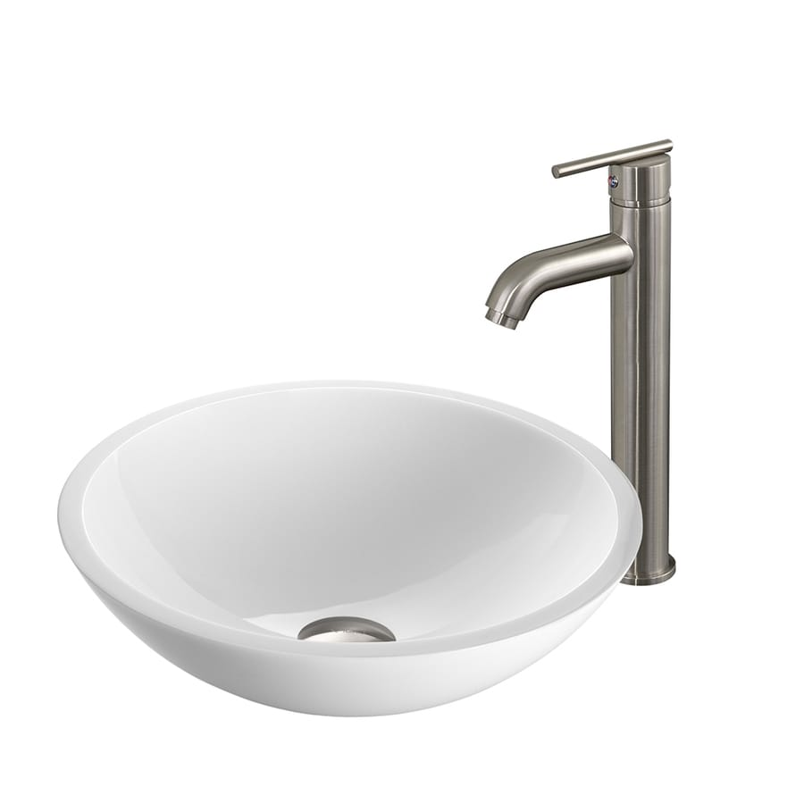 vessel round bathroom sink with faucet drain included at