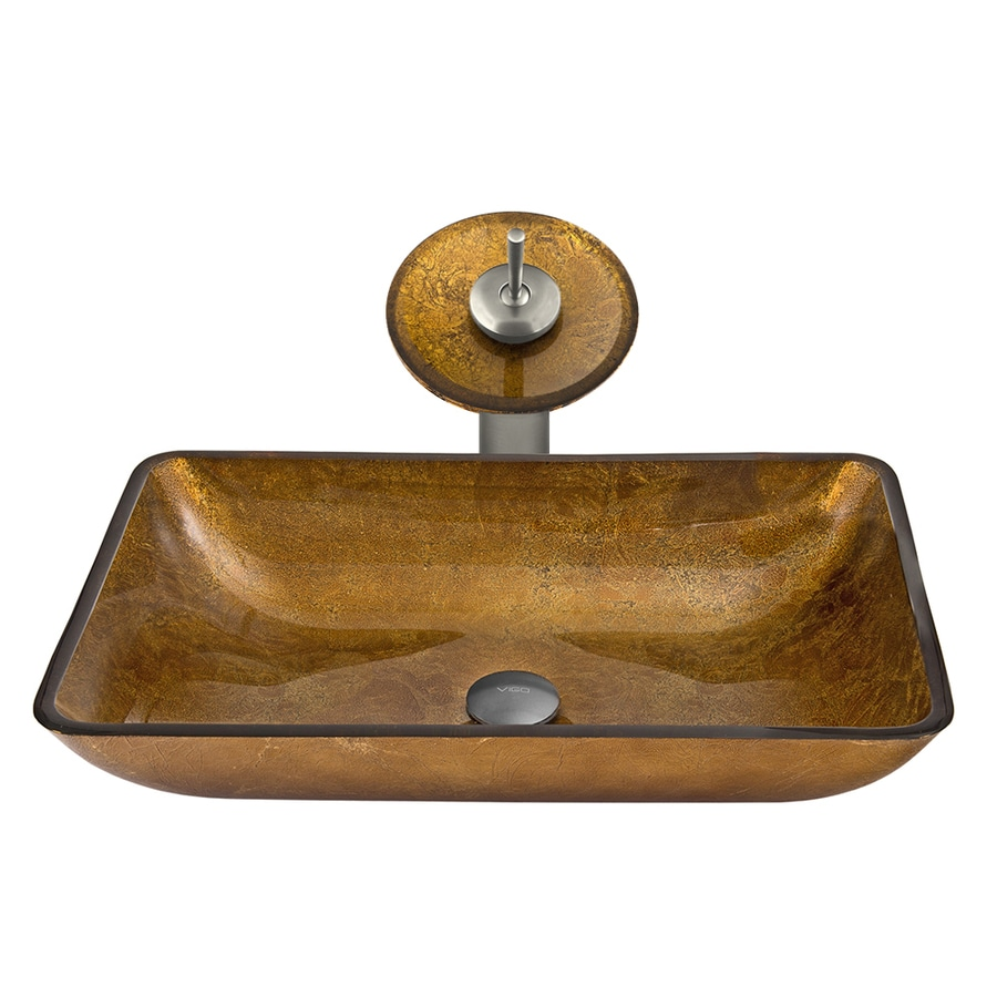 VIGO Vessel Sink & Faucet Set Copper Glass Vessel Round Bathroom Sink with Faucet (Drain Included)
