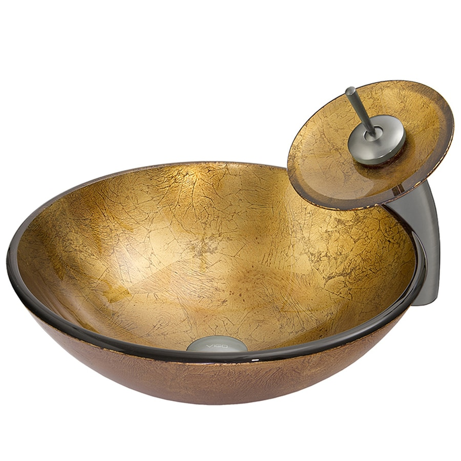 VIGO Vessel Sink & Faucet Set Liquid Gold Glass Vessel Round Bathroom Sink with Faucet (Drain Included)