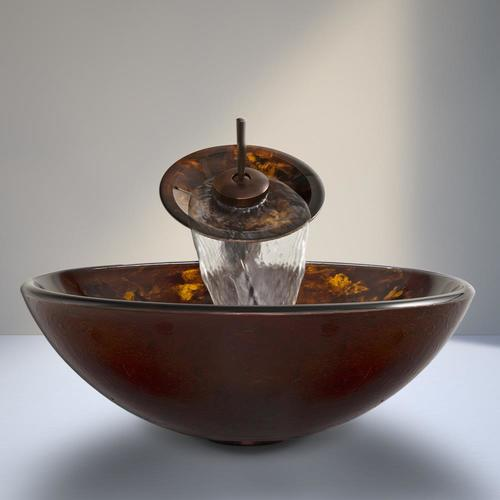 Vigo Vessel Sinks Gold And Brown Fusion Glass Vessel Round