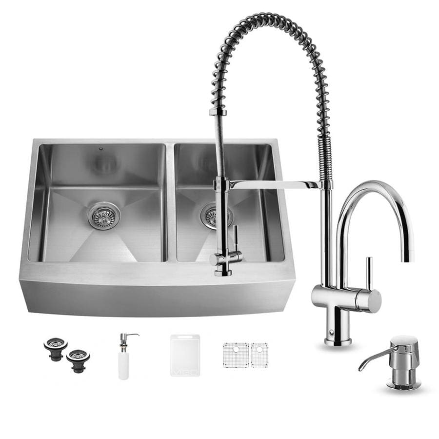 VIGO 36.0-in x 22.25-in Double-Basin Stainless Steel Apron Front/Farmhouse Commercial/Residential Kitchen Sink All-In-One Kit