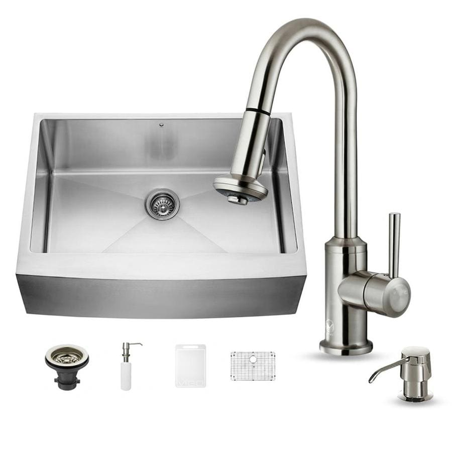 VIGO 30-in x 22.25-in Stainless Steel Single-Basin Apron Front/Farmhouse 1-Hole Commercial/Residential Kitchen Sink All-In-One Kit