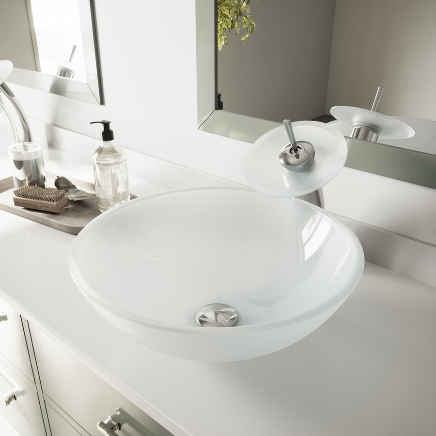 VIGO White Frost Glass Vessel Round Bathroom Sink