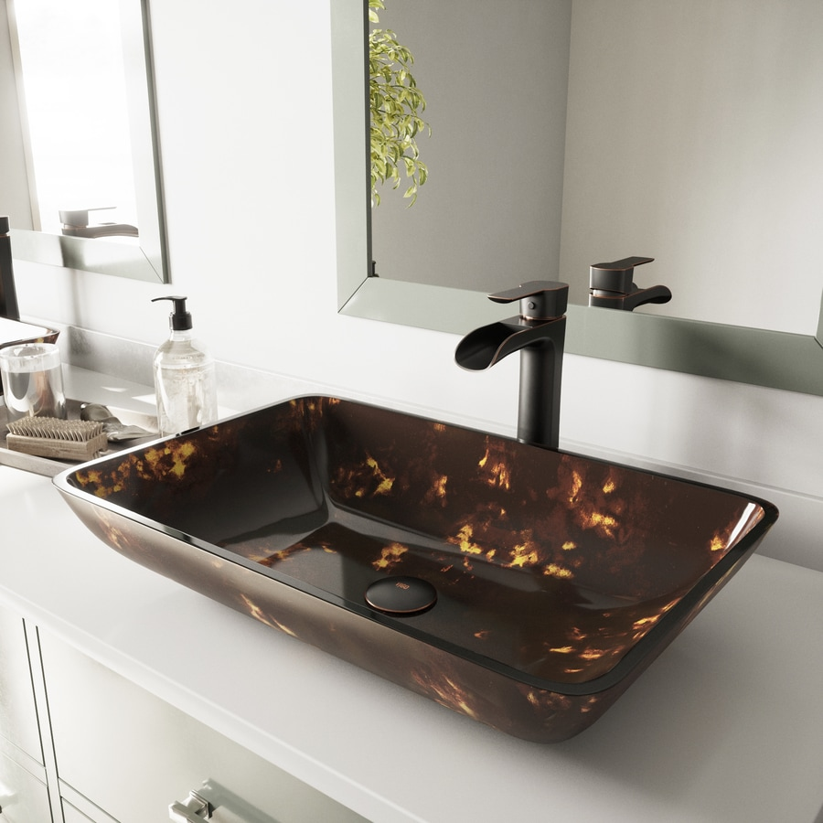 VIGO Brown and Gold Fusion Glass Vessel Rectangular Bathroom Sink