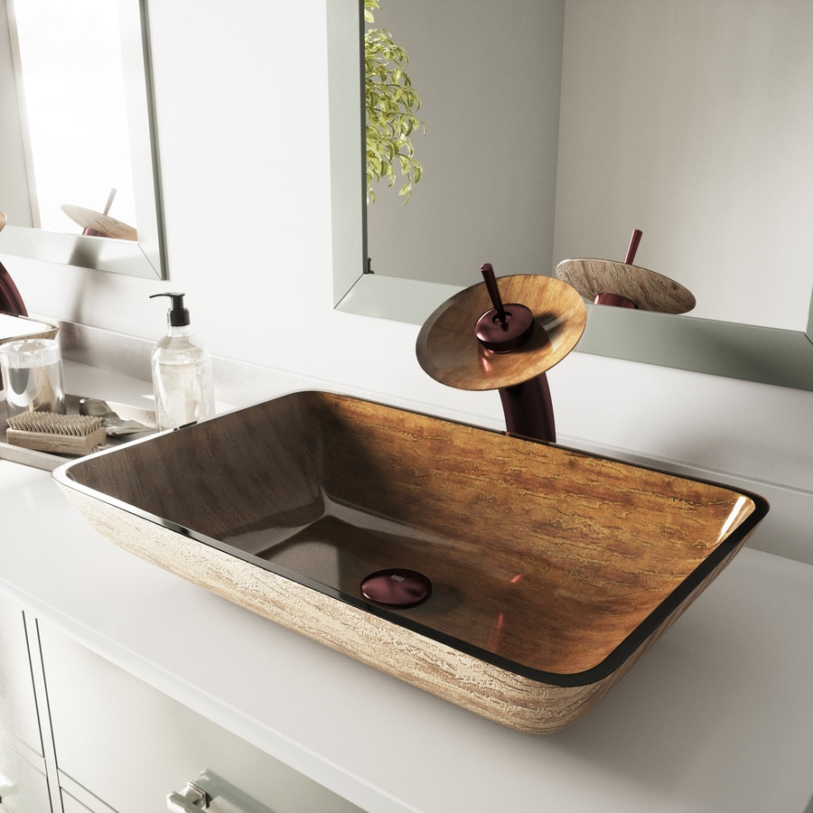 VIGO Amber Sunset Glass Vessel Rectangular Bathroom Sink