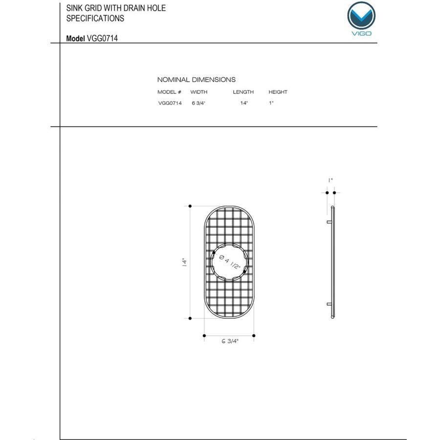 VIGO 6.75-in x 14-in Sink Grid