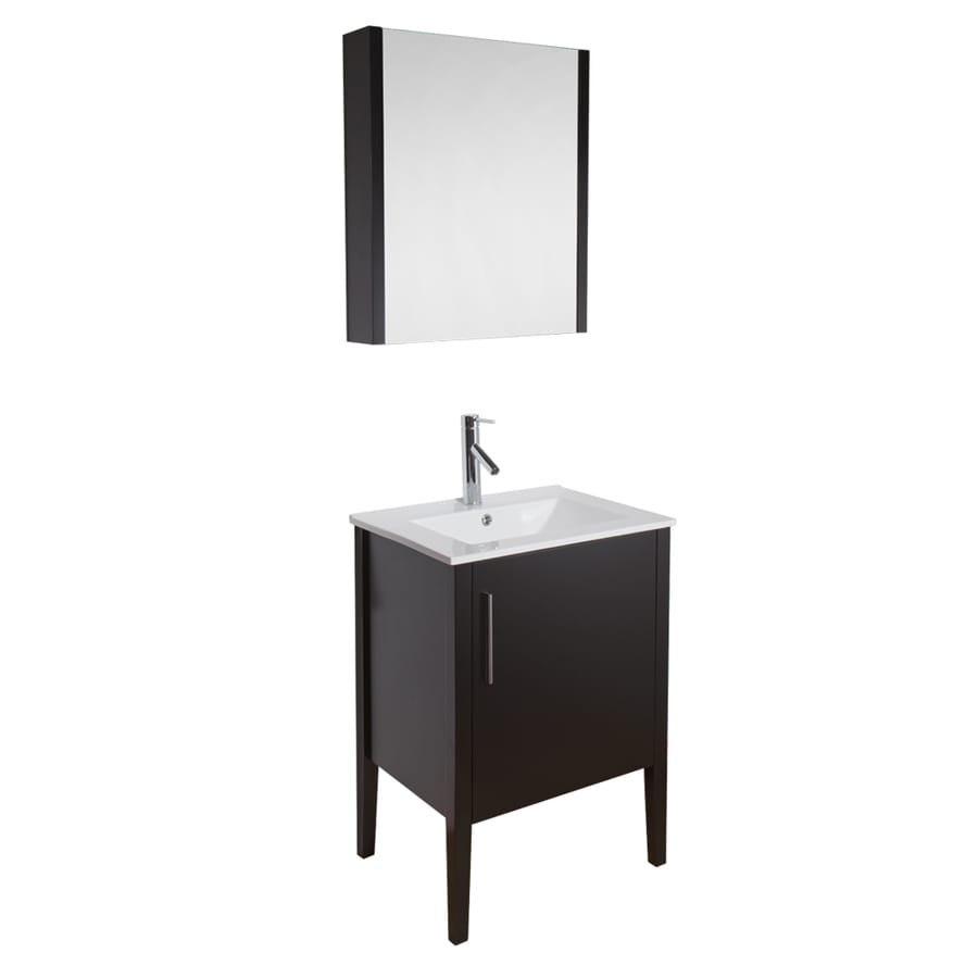 VIGO Maxine Espresso 24-in Integral Single Sink Bathroom Vanity with Vitreous China Top (Mirror Included)
