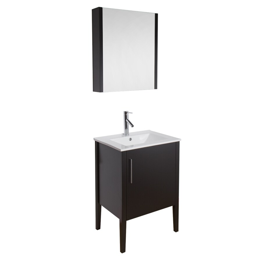 VIGO Maxine Espresso Integrated Single Sink Bathroom Vanity with Vitreous China Top (Common: 24-in x 18-in; Actual: 24-in x 18.25-in)