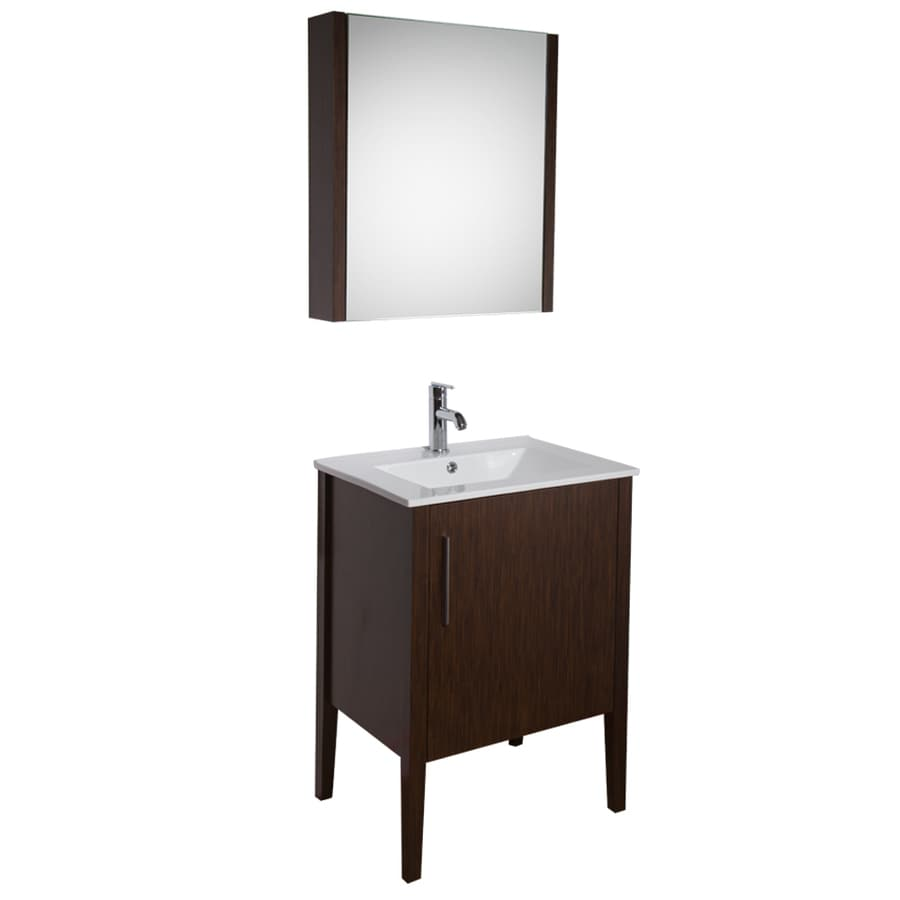 VIGO Maxine Wenge (Common: 24-in x 18-in) Integral Single Sink Bathroom Vanity with Vitreous China Top (Mirror Included) (Actual: 24-in x 18.25-in)