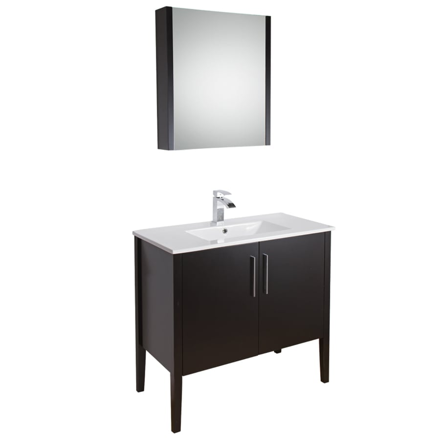 VIGO Maxine Espresso 35.875-in Integral Single Sink Bathroom Vanity with Vitreous China Top (Mirror Included)