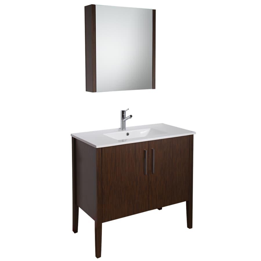 Shop VIGO Maxine Wenge Integral Single Sink Bathroom Vanity with ...