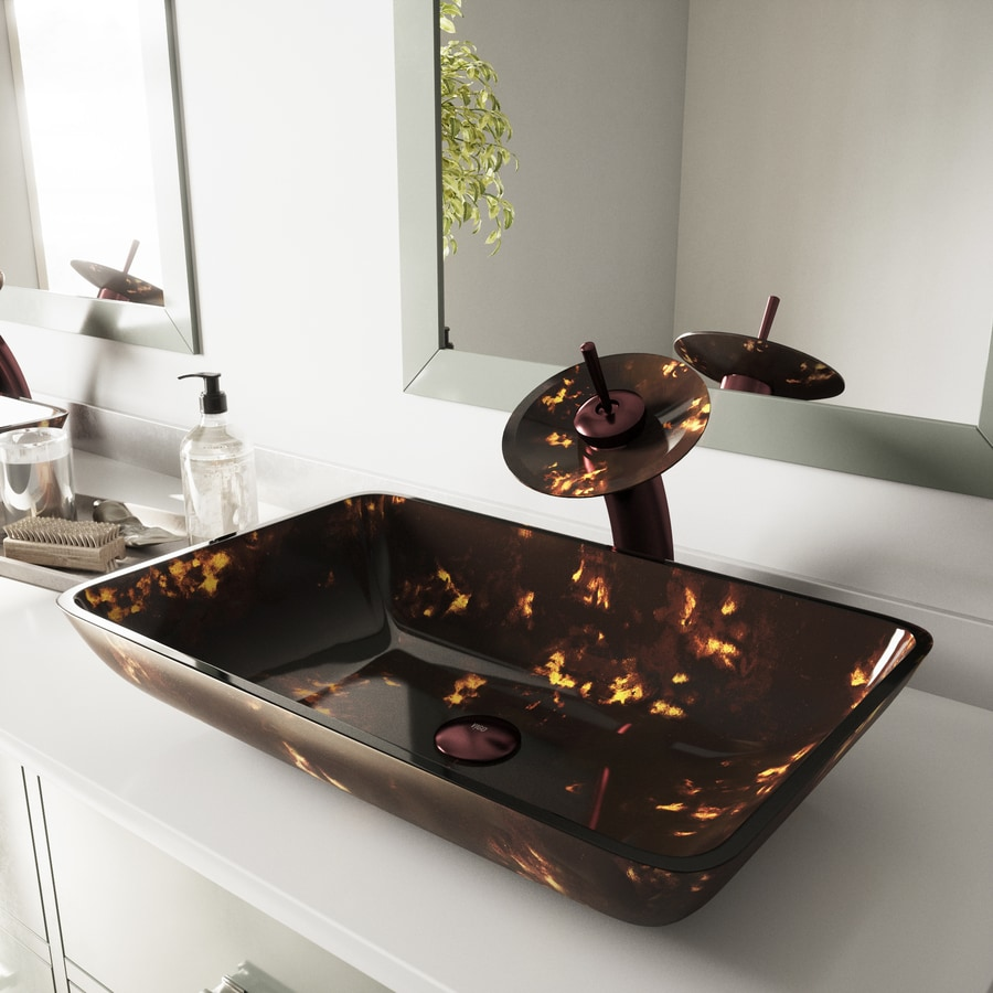 vigo brown and gold fusion glass vessel bathroom sink with faucet drain included