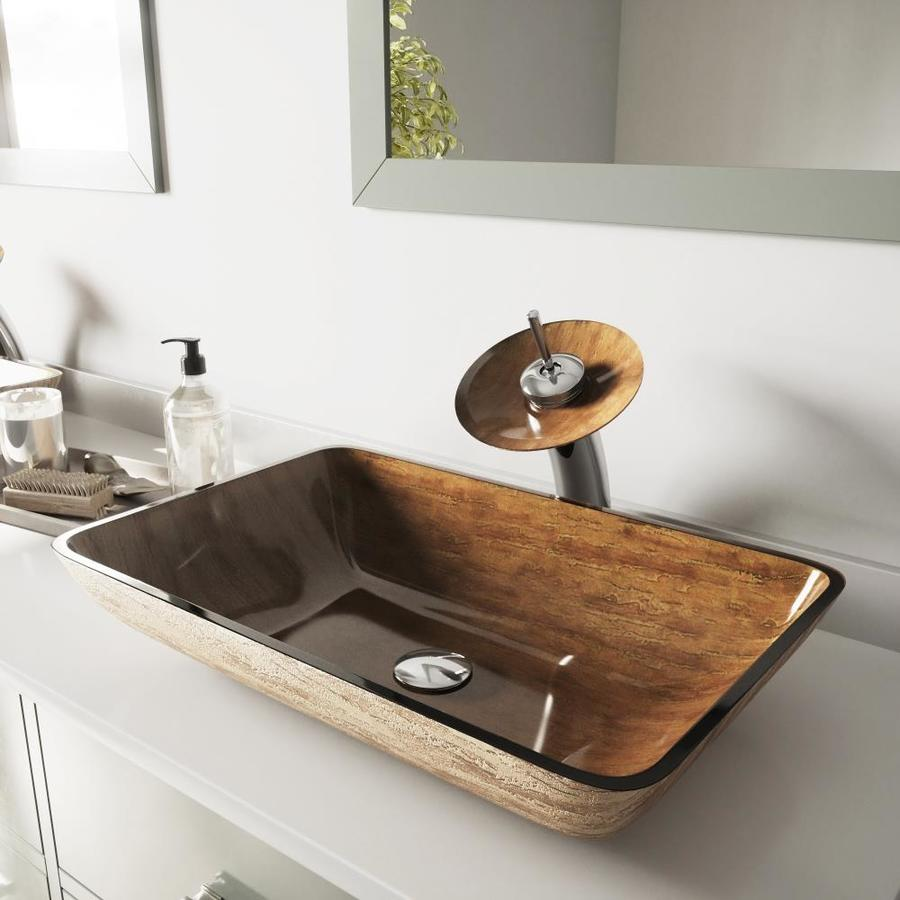 Vigo Amber Sunset Glass Vessel Bathroom Sink With Faucet